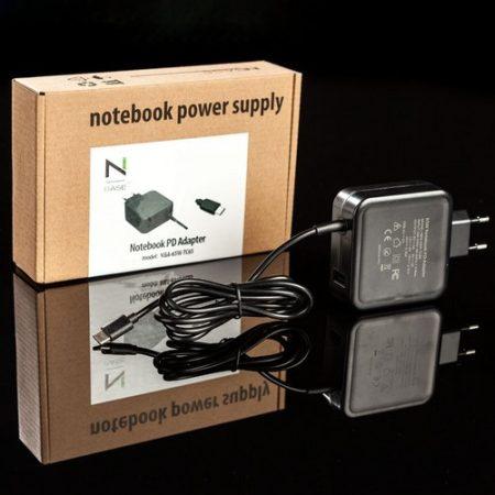 NBase NBA-65W-TC65 Type-C+USB notebook töltő+kábel